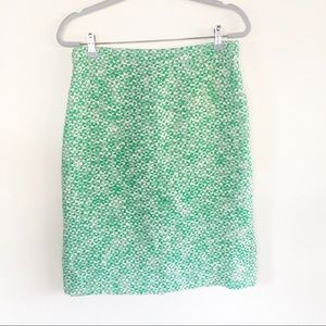 J Crew Green and White Knit Pencil Skirt